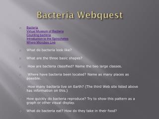 Bacteria Webquest