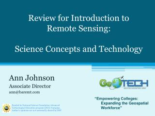 Review for Introduction to  Remote Sensing: Science Concepts and Technology
