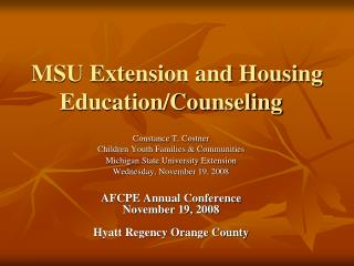 MSU Extension and Housing Education