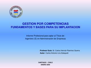 GESTION POR COMPETENCIAS FUNDAMENTOS Y BASES PARA SU IMPLANTACION