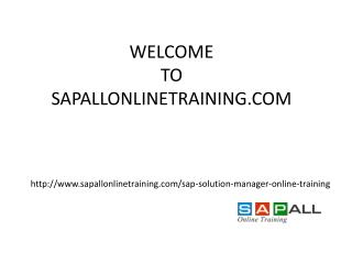 SAP Solution Manager Online Training