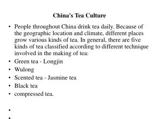 China's Tea Culture