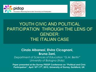 YOUTH CIVIC AND POLITICAL PARTICIPATION  THROUGH THE LENS OF GENDER:  THE ITALIAN CASE