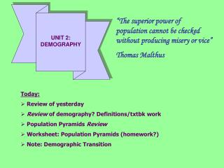 UNIT 2: DEMOGRAPHY