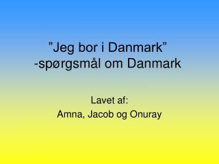 """Jeg bor i Danmark"" -spørgsmål om Danmark"