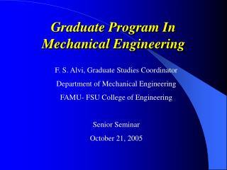 Graduate Program In Mechanical Engineering
