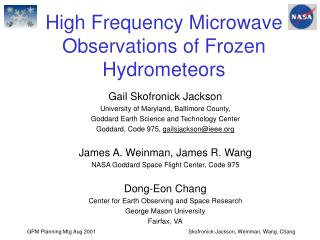 High Frequency Microwave Observations of Frozen Hydrometeors