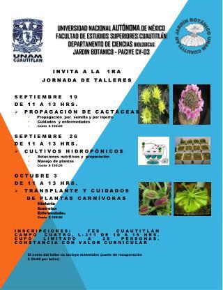 INVITA A LA  1ra JORNADA DE TALLERES Septiembre  19    de 11 a 13  hrs .