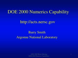 DOE 2000 Numerics Capability