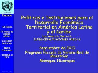 Políticas e Instituciones para el Desarrollo Económico Territorial en América Latina y el Caribe