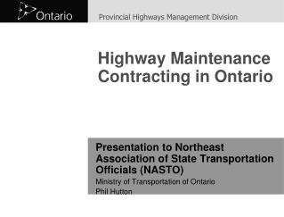 Highway Maintenance Contracting in Ontario