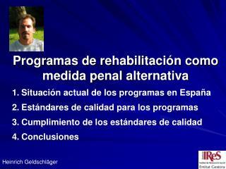 Programas de rehabilitación como medida penal alternativa