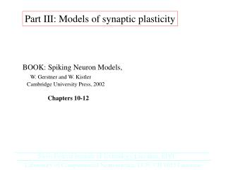 PartIII - Models of Synaptic Plasticity