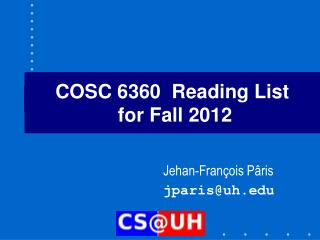 COSC 6360  Reading List  for Fall 2012