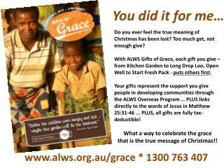 alws.au/grace *  1300 763 407