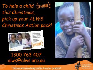To help a child 	 this Christmas,  pick up your ALWS Christmas Action pack!