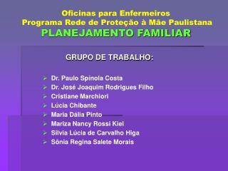 Oficinas para Enfermeiros  Programa Rede de Prote  o   M e Paulistana PLANEJAMENTO FAMILIAR