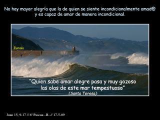 """""""Quien sabe amar alegre pasa y muy gozoso las olas de este mar tempestuoso"""" (Santa Teresa)"""