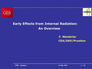 Early Effects from Internal Radiation: An Overview  					F. Ménétrier CEA/DSV/Prositon