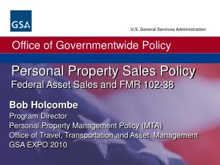 Personal Property Sales Policy Federal Asset Sales and FMR 102-38
