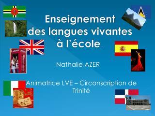 Enseignement des langues vivantes  à l'école .