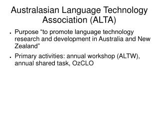 Australasian Language Technology Association (ALTA)