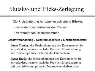 Slutsky- und Hicks-Zerlegung