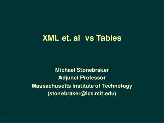 XML et. al  vs Tables