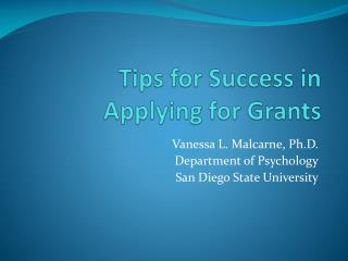 Tips for Success in Applying for Grants