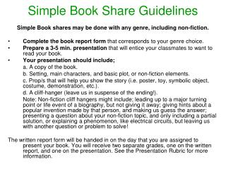 Simple Book Share Guidelines