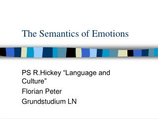 The Semantics of Emotions