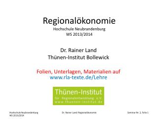 Regional�konomie Hochschule Neubrandenburg WS 2013/2014