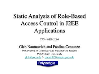 Static Analysis of Role-Based Access Control in J2EE Applications