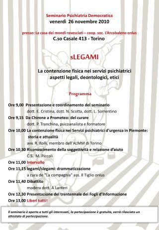 Programma Ore 9,00  Presentazione e coordinamento del seminario