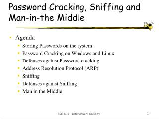 Password Cracking, Sniffing and Man-in-the Middle