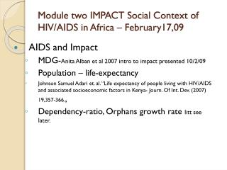 Module two IMPACT Social Context of HIV/AIDS in Africa – February17,09