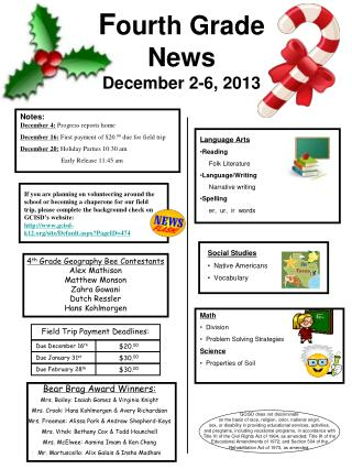 F ourth  Grade  News December 2-6, 2013