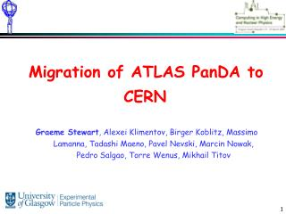 Migration of ATLAS PanDA to CERN