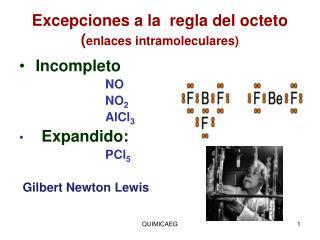 Excepciones a la  regla del octeto ( enlaces intramoleculares)