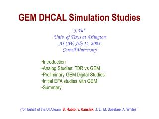 GEM DHCAL Simulation Studies