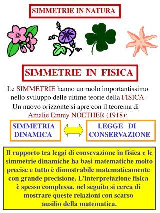 SIMMETRIE  IN  FISICA
