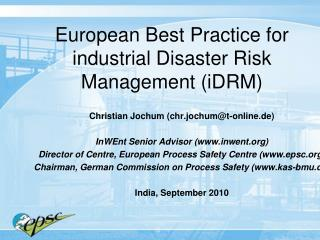 European Best Practice for industrial Disaster Risk Management iDRM