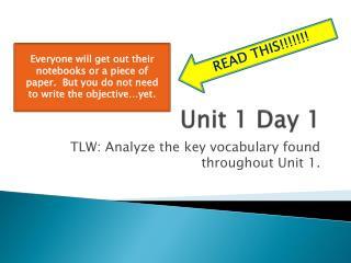 Unit 1 Day 1