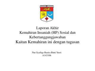 Laporan Akhir Kemahiran Insaniah  (HP)  Sosial dan Kebertanggungjawaban