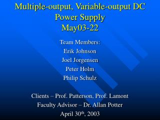 Multiple-output, Variable-output DC Power Supply May03-22