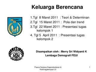 Keluarga Berencana 1.Tgl  8 Maret 2011  : Teori & Determinan