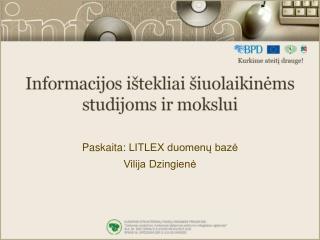 Paskaita:  LITLEX duomenų baz ė Vilija Dzingienė