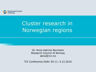 Cluster research in  Norwegian regions