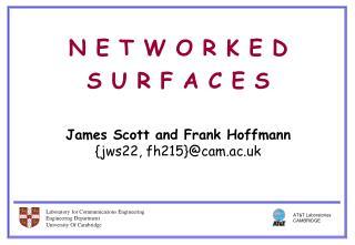 N E T W O R K E D  S U R F A C E S   James Scott and Frank Hoffmann {jws22, fh215}cam.ac.uk