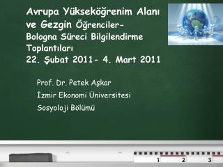 Prof. Dr. Petek Aşkar İzmir Ekonomi Üniversitesi Sosyoloji Bölümü